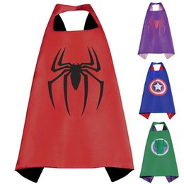 Wholesale Capes For Costumes - Gold Hands Satin fabric Superhero Cape super hero spiderman Christmas Halloween cape for kids Birthday Party Cosplay Custome Free Shipping