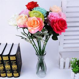 Wholesale Latex Flower Wedding Bouquets - 10pcs lot Decor Rose Artificial Flowers Silk Flowers Floral Latex Real Touch Rose Wedding Bouquet Home Party Design Flowers
