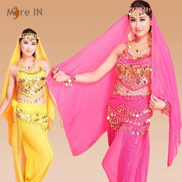 Wholesale Yellow Dance Costumes - Woman Belly dancing clothes Bollywood dance Costume with coins Indian style two pieces Red  Yellow  Blue  Purple  Rose red  Light blue MB001