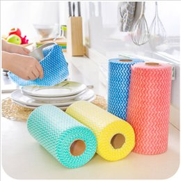 Wholesale roll cloth - Wholesale- 1 Roll Kitchen Disposable Non-woven Fabrics Washing Cleaning Cloth Towels Eco Friendly Practical Rags Wiping Pad HD0065