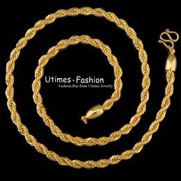 Wholesale Man 24k Gold Chains - (184N) ( 50cm*5mm) Fashion Rope Necklace Chain For Men 24K Gold Filled Good Quality for Free Shipping