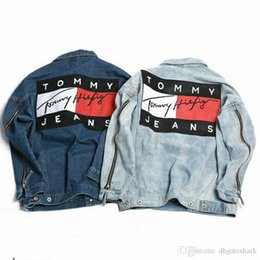 Wholesale Mens Striped - 2017 Men's Denim Jacket Fashion Jeans Jackets Slim Fit casual Streetwear Vintage Mens GOSHA Jean Jacket Clothing