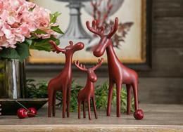 funghi artificiali all'ingrosso Sconti Nuovo modo di arrivo 3 decorazione della casa di cervo famiglia ceramica cervi artificiale simulazione animale cervo decorazione della casa HK46