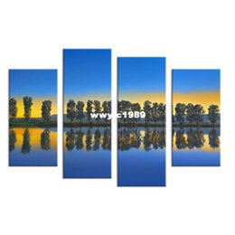 Wholesale Canvas Wall Art Ideas - 4PCS paints tree in the river scape Wall painting print on canvas for home decor ideas paints on wall pictures art No framed