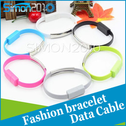 Wholesale Flat Wrist - Bracelet style Micro USB charging cable Portable wrist wear flat Data sync charger Cord For samsung S6 S4 note 4 5 htc one