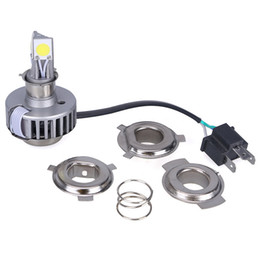Wholesale Led 36v Headlights - 2016 H4 LED Motorcycle Headlight 6000K 1800LM 18W Hi Lo Beam High Low Conversion Kit DC 6V-36V H6 H7 Headlamp,3 sides 360 degree lighting