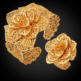 Anéis de ouro requintados on-line-Pulseira Anel Set Platinum / 18 K Real Banhado A Ouro Requintado Mulheres Presente Do Partido Atacado Na Moda Grande Flor Conjunto de Jóias S561