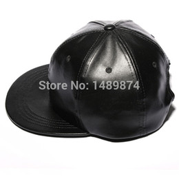 Wholesale Leather Hat Cap Visor - Wholesale-Retail 2015 Leather Baseball Caps Hiphop Hats Men Women Causal Hats Dancing Visors Snapback Strapback Outdoor Sun Topee