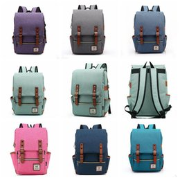 Wholesale large canvas backpack for school - 11 Colors Vintage Women Canvas Backpacks For Teenage Girls School Bags Large High Quality Mochilas Escolares Fashion Backpack CCA8049 30pcs