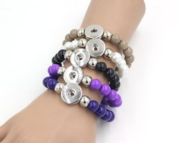 Wholesale Stretch Glass Bracelets - New Arrival Mix 9 Colors Snap Jewelry Interchangeable Jewelry, 10mm Glass Beaded Stretch Bracelet for women for snap Jewelry