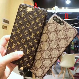 Wholesale texture phone - luxury brand printed leather texture phone case for iphone X 7 7plus 8 8plus TPU silicone shatter-resistant back cover for iphone 6 6S 6plus