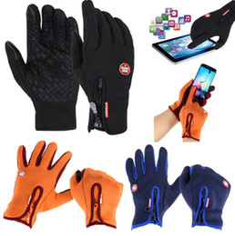 Wholesale Wholesale Bike Gloves - Cycling Gloves Warm winds touch screen waterproof Bike Bicycle Gloves Riding Gym Finger Gloves Outdoor Sport Shockproof Mittens KKA3229