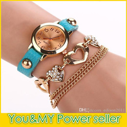 Wholesale Womens Bracelet Pink Leather - High Quality Genuine Leather Womens Quartz Watches Heart Pendant Case Bling Diamonds Bracelet Watch Gold Dial Wristwatch Chain