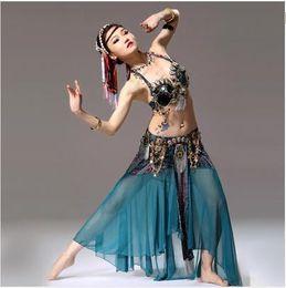 Wholesale Tribal Belly Dance Clothes - 2016 Women Bollywood Dance Costumes Bra&Belt&Skirt Lady Danza Tribal Belly-dance Gypsy Clothes Belli Dancer Danza Tribal Top Verde