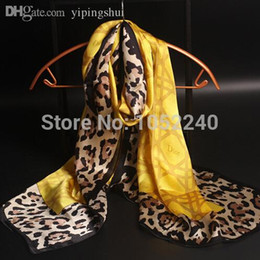 Wholesale Silk For Scarfs China - Wholesale-China Silk World ! Royal pearl satin print real silk scarf leopard with letter print silk scarf for fashion women