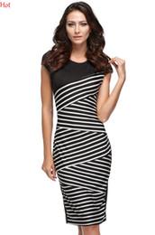 Wholesale Strip Caps - Hot Summer Women Dress 2016 Plus Women Clothing Formal Office Bandage Dress Geometric Strips Print Elegant Bodycon Pencil Dress XXL SV003903