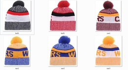 Wholesale Knitted Hiking Hats - New Beanies 2017 Hot Knit Baseketball Beanie Sport Knit Pom Pom Knit Hats Baseball Football Sports Beanies Hat Mix Match Order All Caps