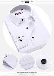 Wholesale White Dress Shirt Chinese Man - Wholesale-OBS new arrival cotton men shirt blue white dress clothes formal male vestidos casual mens jeans chinese wedding party dresses