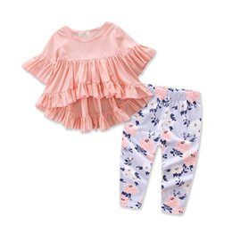 Wholesale Ruffle Sleeves Tees - Everweekend Ins Toddler Baby Girls Outfits Pink Bell Sleeve Ruffles Tees and Floral Pants 2pcs Sets infant Baby Clothing