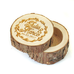 Wholesale Wedding Ring Bearer Box - Personalized Wedding Ring Box, Custom Ring Bearer Box,Rustic Wood Ring Bearer,Engraved Names, Date