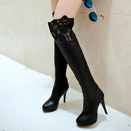 Wholesale White Long Boots Women - Big Size 34-43 Fashion Black And White Color Over The Knee High Boots For Women Sexy Round Toe Thin High Heels Long Boots Shoes