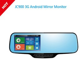 Wholesale Security Car Cameras Recorders - JC900 1080P 3G Android Mirror Dual Camera Strap Version with WCDMA Tri-Band for Worldwide Google Map & HD Rear camera Optional