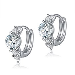 Wholesale Cheap Crystal Earings - Earings Fashion jewelry For Women Silver Earring Stud with 0.75ct Hearts and Arrows Cut Zircon Crystal Women Earrings Jewelry Cheap