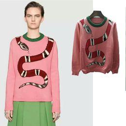 Wholesale Pink Cashmere Sweater Women - 2018 New Spring Autumn Women Knitwear Sweet Snake Jacquard Wool Sweater Knit Sweater Coat Long-Sleeve Men Pullovers Top Lady Clothing