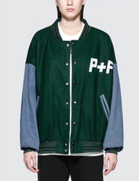 Wholesale P Ten - Europe and the United States high street P ten F green loose woolen jacket men's baseball uniform jacket men and women with autumn and winte