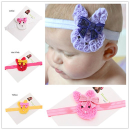 Wholesale Silk Hair Bows For Girls - 15pcs Baby Bunny Ears headbands headwear for Easter day baby girls hair bows headband rabbit ears hairband Sequin hair bows