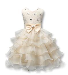 vestido de niña de diamante tutú Rebajas Vestido de fiesta de las muchachas del verano del estilo 9 vestidos sin mangas del tutú vestido de fiesta del bebé del vestido del bebé con el arco y el vestido de encaje del bebé 0-7T del diamante