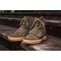 Wholesale Wholesale Men Boots - 750 Boost CLAIR MARRON Kanye West LT.BROWN Fashion Casual Shoes BY2456 2017 Newest Boots 750 Outdoor Footwaer Sneakers Boosts