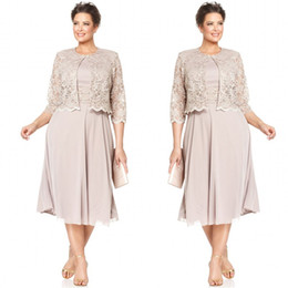 Wholesale Tea Length Green Suits - 2015 Plus Size Dresses Mother Bride Short Formal Gowns Tea Length Chiffon Wedding Party Dress with 3 4 Long Sleeves Lace Jacket Custom Made