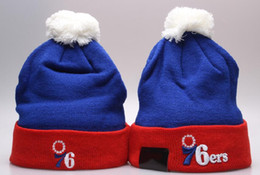 Wholesale Mens Sports Beanies - New Design Knit Skull Sports Basketball Cap Out Door Warm Winter Hats Women and Mens 76ers Beanies With Pom