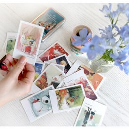 Wholesale Post Card Box - Wholesale- 40 pcs lot Cute Kawaii Paper Postcards With Tin Box Vintage Retro London Paris Alice Italy Greeting Post Cards Free shipping 804