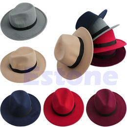 Wholesale Red Bowler - Wholesale-Men Women Bowknot Jazz Hard Felt Fedora Bowler Panama Wide Brim Hat Gangster Cap Free Shipping