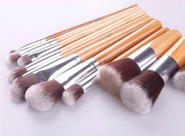 Wholesale Bag Concealer - Cosmetics Maquiagem Profissional 11 Pcs Professional High Quality Bamboo Makeup Brush Set Goat Hair Cosmetic Brushes Kit with Bag Dhl 500