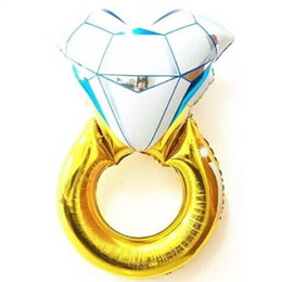 Wholesale Wedding Proposal Rings - 43 Inches Funny Big Diamond Ring Balloon 2015 New Fashion Party Wedding Decorations Diamond Ring Balloon Make a Proposal Wedding Gifts