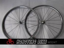 Wholesale 24mm Carbon Tubular - Wholesale-Ultralight Full Carbon bike Wheels  24mm Tubular racing bicycle wheelset free shipping 24T