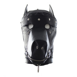 Wholesale Adult Latex Hood - free shipping Faux Leather Dog Mask Sexy Latex Realistic Head Bondage Hood Adult Sex Dog Mask Black Fetish Erotic Toys Sex Toys for Couples