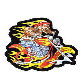 Wholesale Fire Motors - 1PCS Fire Skull with Motor Embroidery Patches for Clothing Iron on Transfer Applique Patch for Garment Jackets DIY Sew on Embroidery Badge