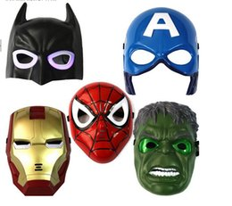 Discount party glows - Christmas LED Glowing superhero mask for kid & adult Avengers Marvel spiderman ironman captain america hulk batman party mask