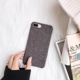 Wholesale Fuzzy Phone Cases - Retro Fuzzy Cloth Phone Case For iphone X Case For iphone 6S 6 7 8 Plus Back Cover Fashion Winter Warm Stripes Cases