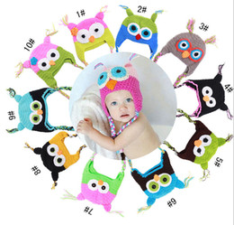 Wholesale Crocheted Owl Hats - Handmade Owl Hat Crochet Hat knit Baby Hat Cap with ear flap Animal Style For Girl Boy Gift