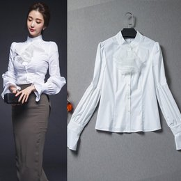 Wholesale Low Price Shirts - white victorian shirt long lantern sleeve blouses with ruffles stand collar slim ladies office shirts low prices