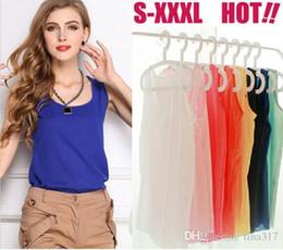 Wholesale Chiffon Tank Top Sleeveless Women - New blouse women Fashion Women Chiffon Sleeveless Shirt Vest Tank Tops Blouse Waistcoat women shirts 1035