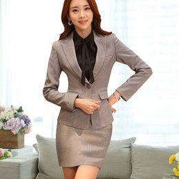 Wholesale Uniform Business - spring autumn female skirt suits new 2015 elegant long sleeve women business formal office uniform style plus size xxxl black work wear