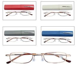 Wholesale Aluminum Box Tube - Reading Glasses Pen Case Colors Aluminum Tube Unisex Eyeglasses Folding Portable Presbyopia glasses with box Free Shipping