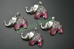 Wholesale Elephant Shaped Jewelry - High Quality About 35MM Alloy Metal Pink Cat Eye Elephant Shape Stone Pendant Fit Woman Necklace Jewelry Festival Gift Making