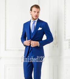 Wholesale Tuxedo Tie Vest Wholesale - Custom Made Two Buttons Royal Blue Groom Tuxedos Peak Lapel Groomsmen Best Man Wedding Prom Dinner Suits (Jacket+Pants+Vest+Tie) G3972